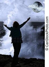 nő, neki, clare, erős, elhagyott, fegyver, lenget, megye, él, tele, írország, félelem, sziklák, hold, emelés