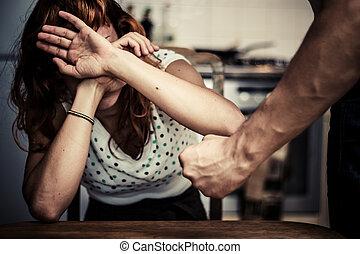 nő, neki, fedő, erőszak, belföldi, arc, félelem