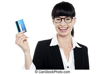 nő, neki, feláll, készpénz, jókedvű, birtok, bespectacled, kártya