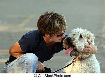 nő, neki, kutya