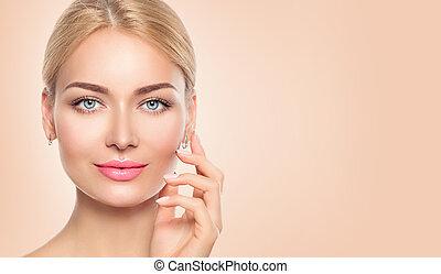 nő, neki, szépség, arc, megható, closeup, ásványvízforrás, portrait., leány