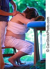 nő, nyak, masszázs, terhes