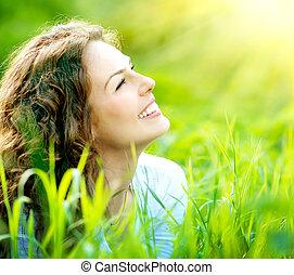 nő, outdoors., élvez, fiatal, természet, gyönyörű