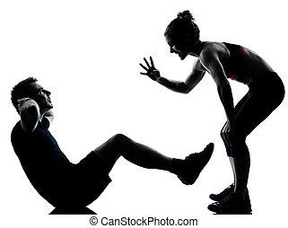 nő, párosít, gyakorlás, egy, állóképesség, tréning, ember