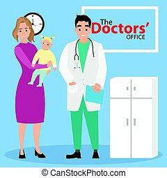 nő, pediatrician., orvosi, kézbesít, fogadás, gyermek, examination.