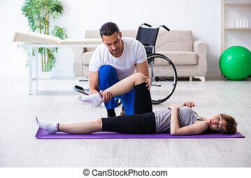 nő, physiotherapist, sebesült, ünnepély, hím, emelet
