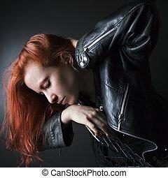nő, piros, hair.