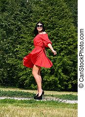 nő, piros ruha, gyönyörű