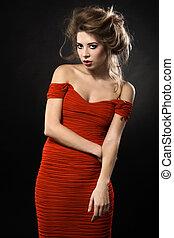 nő, piros ruha, nagyszerű