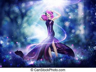 nő, portré, képzelet, tündér, gyönyörű, művészet, mód