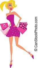 nő, rózsaszínű, románc, bevásárlás