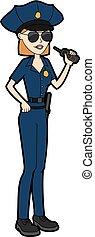 nő, rendőrség tiszt