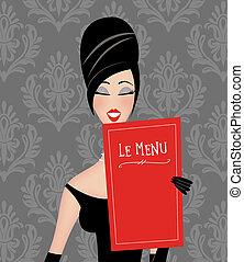 nő, retro, felolvasás, étrend, sikk, étterem