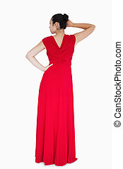 nő, ruha, piros, fárasztó