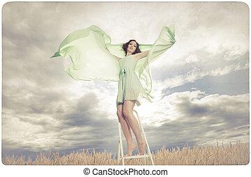 nő, ruha, zöld, gyönyörű