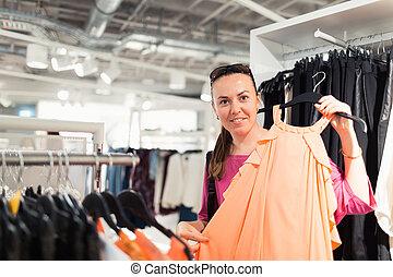 nő, ruhabolt