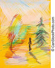 nő, -, sárga, gyerekek, ősz erdő, rajz