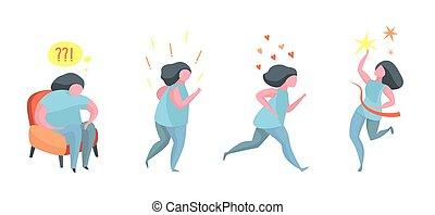 nő, súly, egészséges, aktivál, futás, eredmény, vesztes, előrehalad