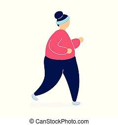 nő, súly, késik, kocogás, kövér