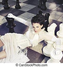nő, sakkjáték, gyönyörű, óriási