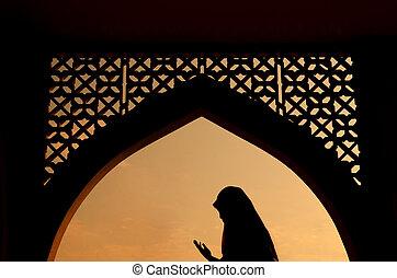 nő, silhoutte, muzulmán, imádkozás