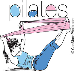 nő, skicc, pilates, banda, ellenállás, ábra, gumi, gym., vektor, állóképesség, sport
