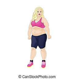 nő, sport, túlsúlyú, hord, kövér