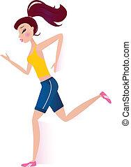 nő, sportszerű, elszigetelt, futás, fehér