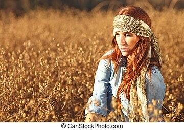 nő, summertime idő, mező, gyönyörű