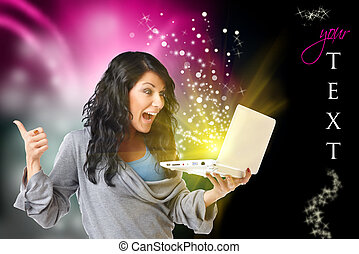 nő, számítógép, boldog
