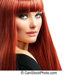 nő, szépség, arc, haj, portrait., formál, leány, piros