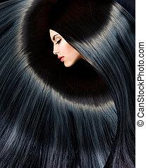 nő, szépség, egészséges, hosszú, barna nő, fekete, hair.