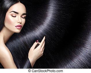 nő, szépség, egyenes, hosszú szőr, háttér., barna nő, fekete
