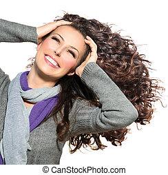 nő, szépség, göndör, egészséges, hosszú szőr, fújás, hair.