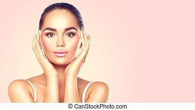 nő, szépség, neki, face., skincare, megható, fogalom, barna nő, ásványvízforrás