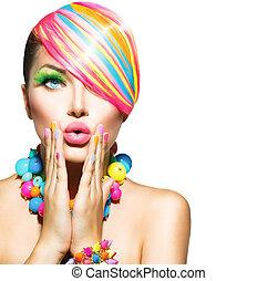 nő, szépség, színes, körmök, alkat, segédszervek, haj