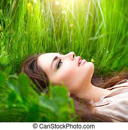 nő, szépség, természet, mező, grass., zöld, élvez, fekvő