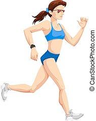 nő, szín, futás, ábra