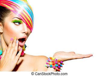 nő, színes, haj, szépség, alkat, körmök, segédszervek