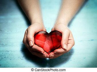 nő, szív, kézbesít, piros, pohár