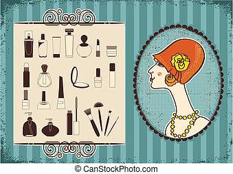 nő, szüret, arc, mód, kozmetikum, háttér, kalap