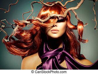 nő, szőr mód, formál, hosszú, portré, göndör, piros