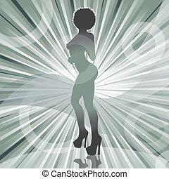 nő, szexi, fénysugár, afrikai származású, árnykép