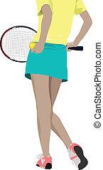 nő, társaság, játékos, silhouette., tenisz