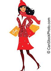 nő, tél, bevásárlás