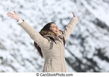 nő, tél, fegyver, ünnepek, emelés, boldog