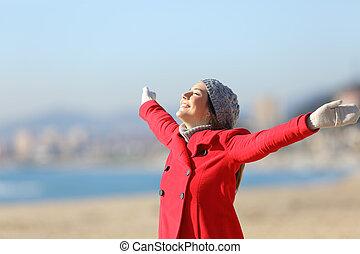 nő, tél, fegyver, lélegzés, emelés, boldog