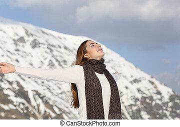 nő, tél, fegyver, levegő, lélegzés, friss, emelés