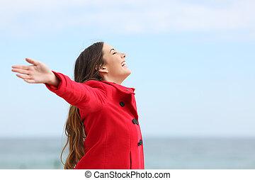 nő, tél, mély, levegő, lélegzés, friss, mód