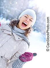 nő, tél, outdoor., nevető, móka, leány, birtoklás, boldog